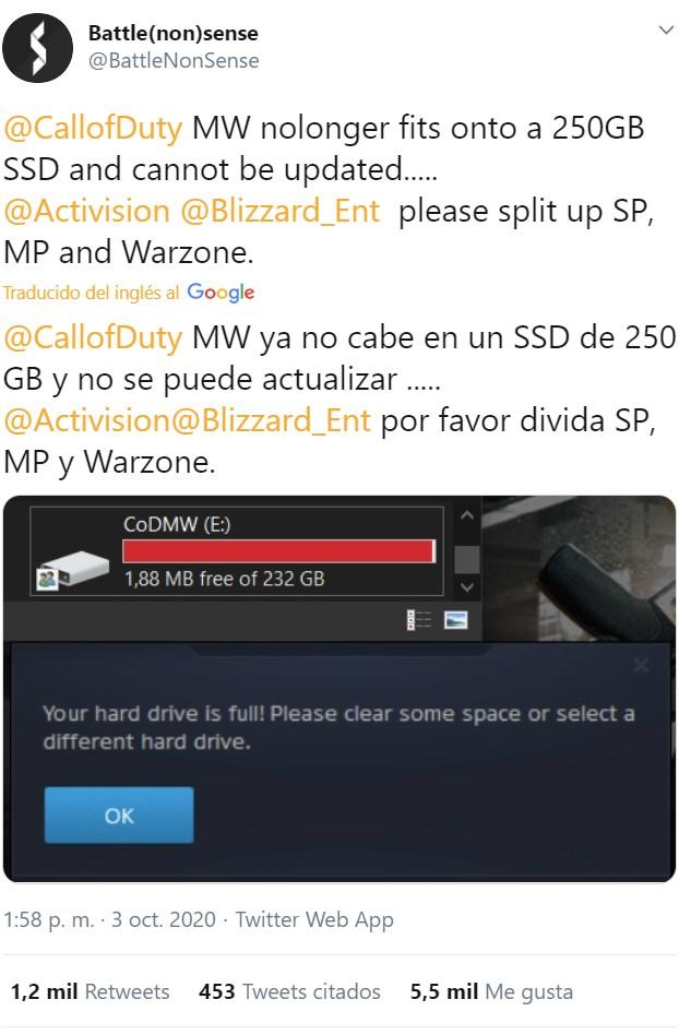 Call of Duty: Modern Warfare ya no entra en un SSD de 250 GB