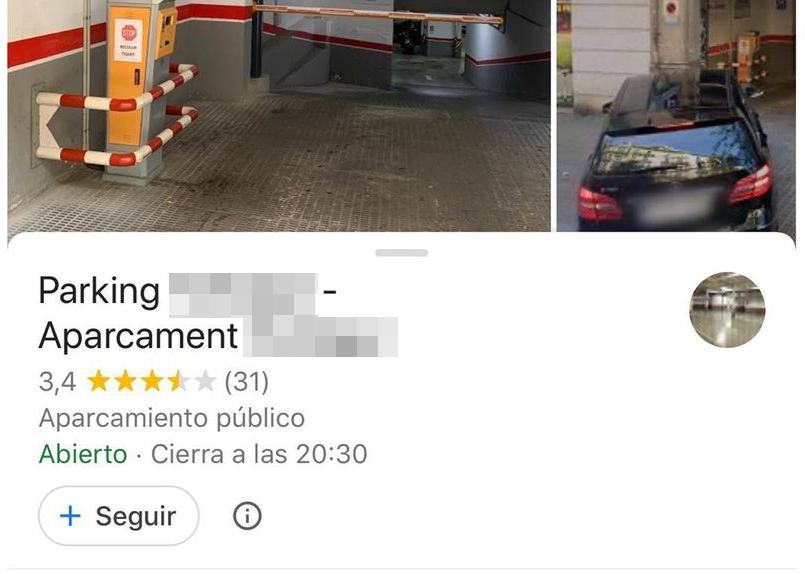 Inquietante reseña de un parking en Google...