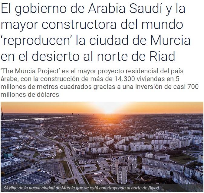 Están construyendo una copia de Murcia en Arabia Saudí
