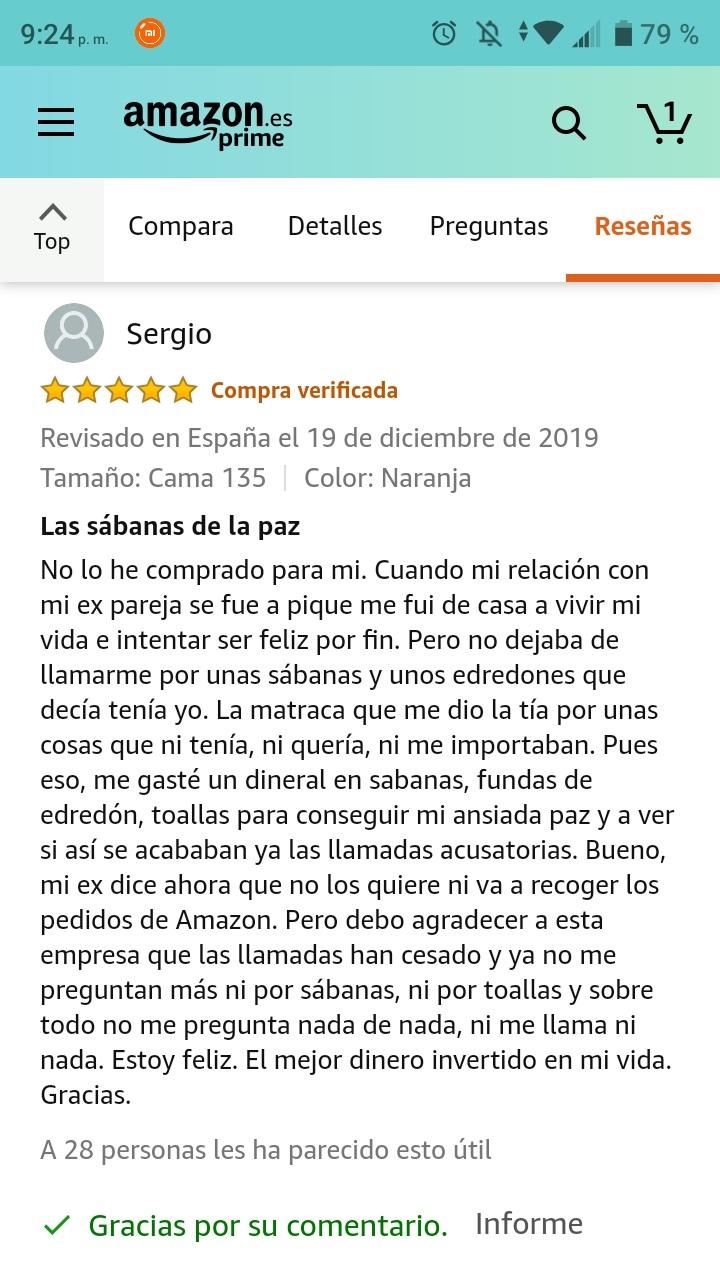 La mejor reseña posible de unas sábanas en Amazon