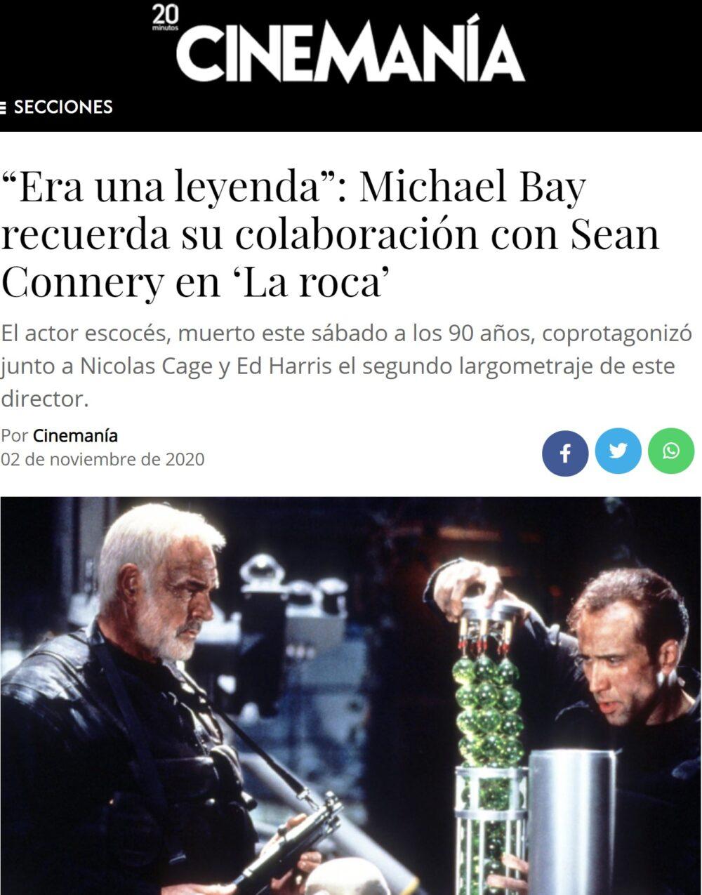 Así le echó un cable Sean Connery a Michael Bay durante el rodaje de La Roca