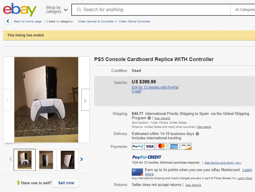 Alguien ha creado y vendido una PS5 de cartón por 400 dólares