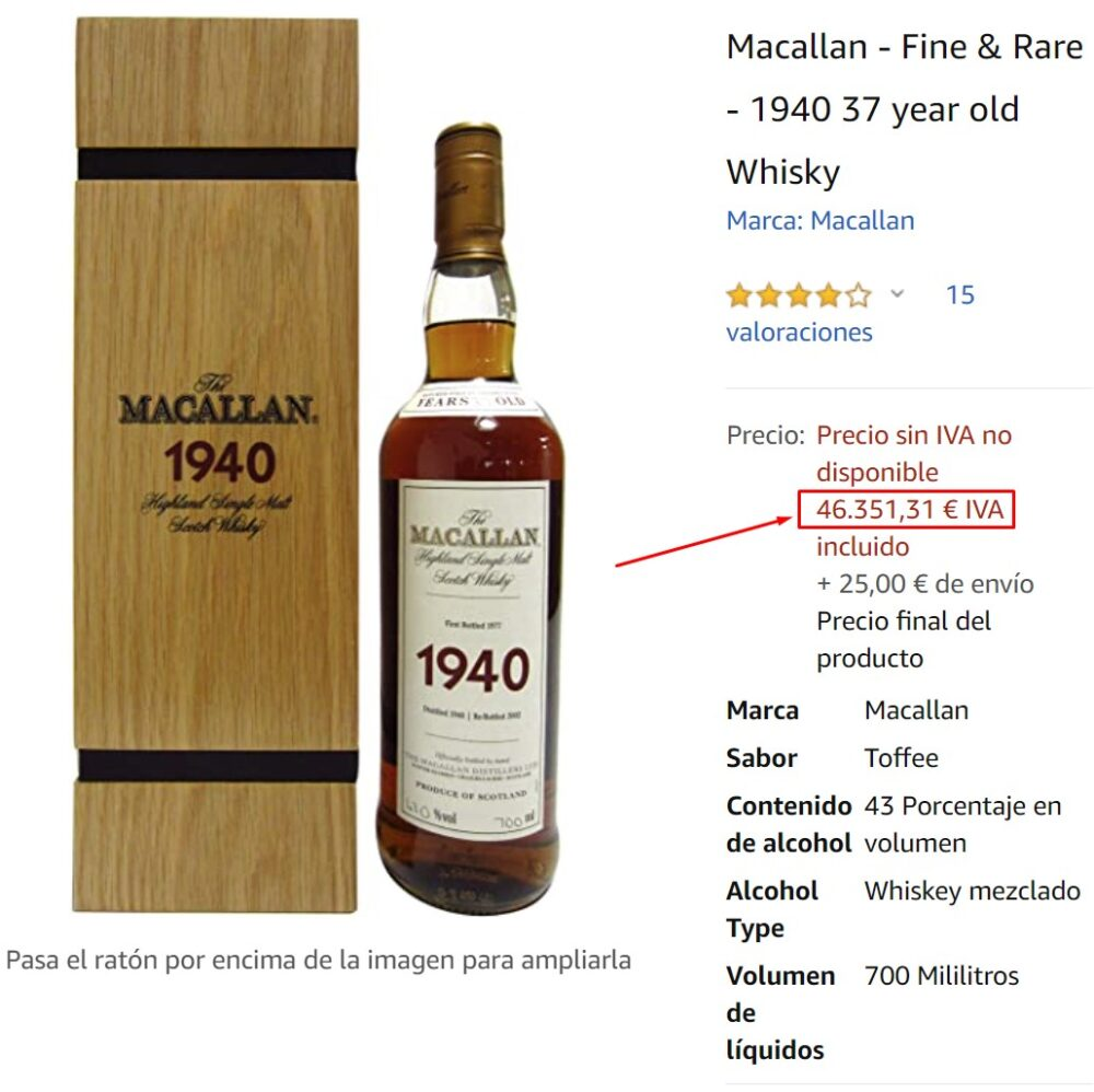 Amazon vende una botella de Macallan por 46.351,31 euros