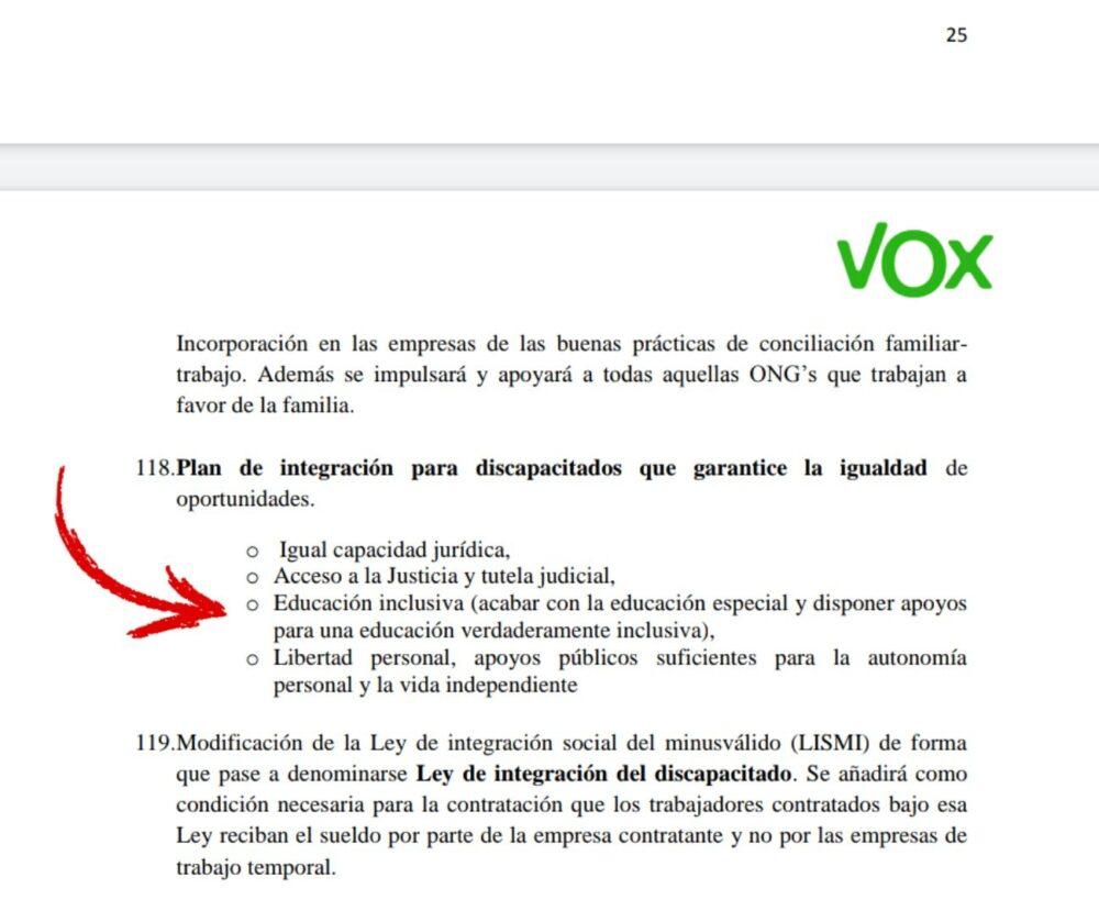 Vox contra su propio programa electoral