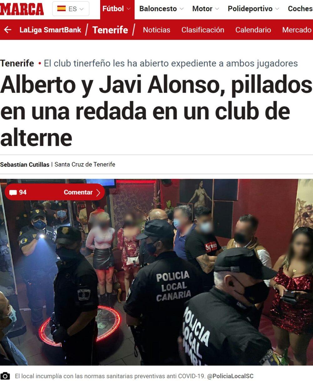 Dos jugadores del Tenerife pillados la redada a un club de alterne