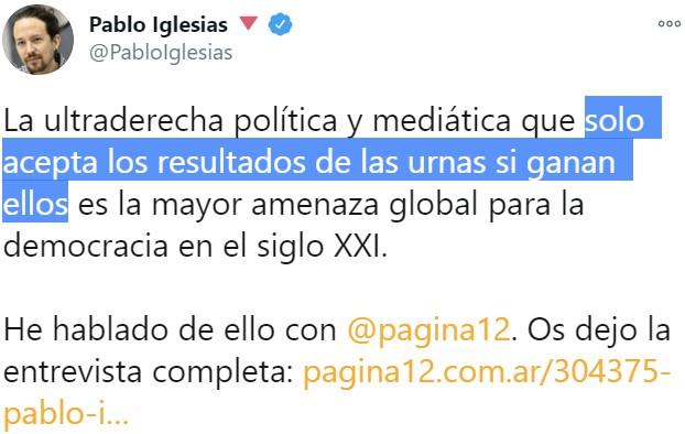 Tiene razón Pablo Iglesias, hay que aceptar los resultados y hacer autocrítica...