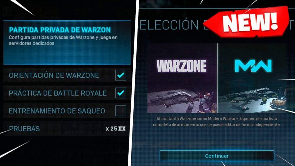 Vamos a crear una partida privada en Warzone