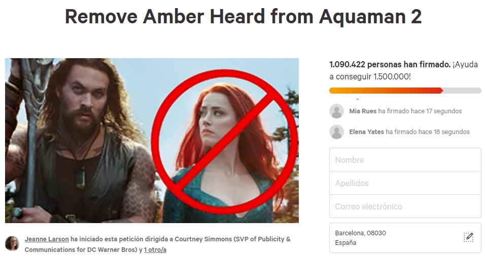 Crean un Change.org para que retiren a Amber Heard de Aquaman y consigue 1 millón de firmas en pocas horas