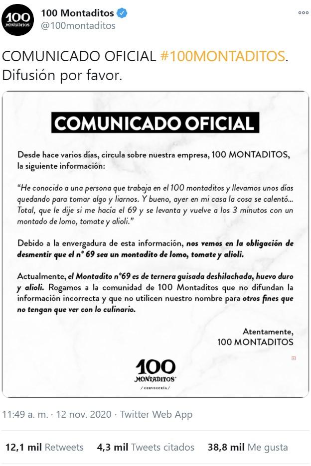 Comunicado oficial del 100 montaditos