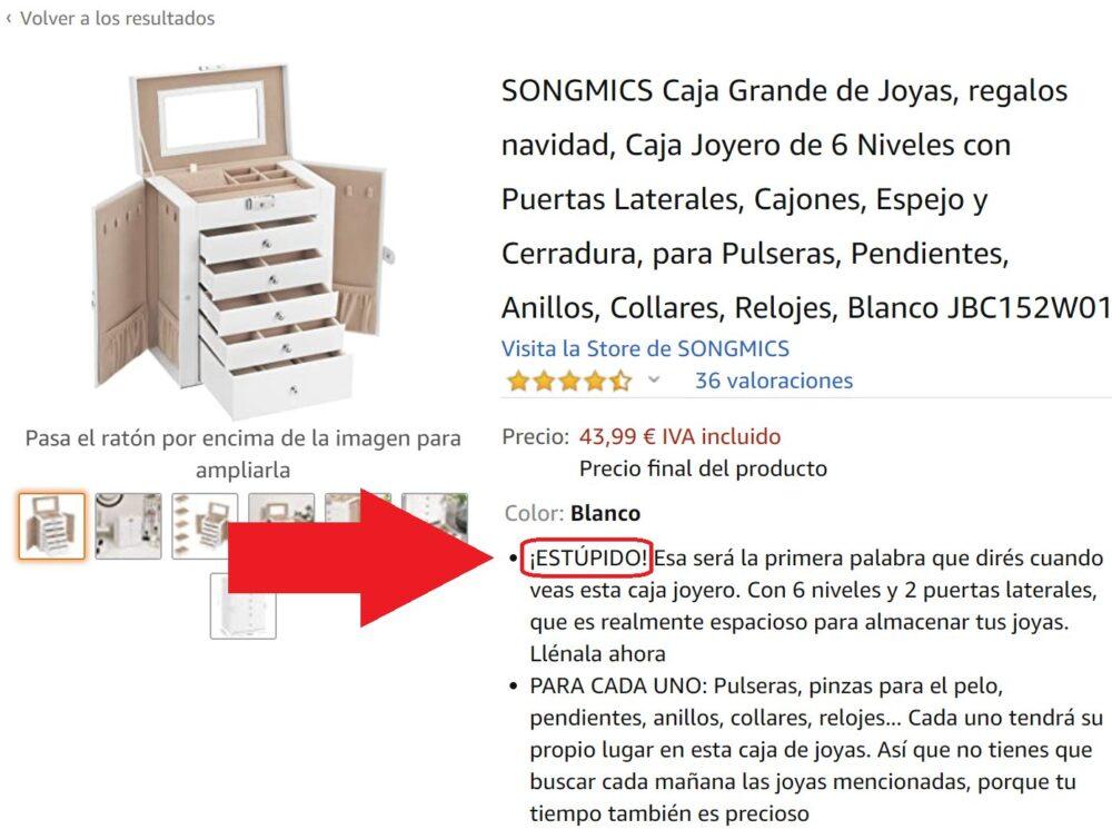 ¿Mala traducción o vendedor demasiado honesto?