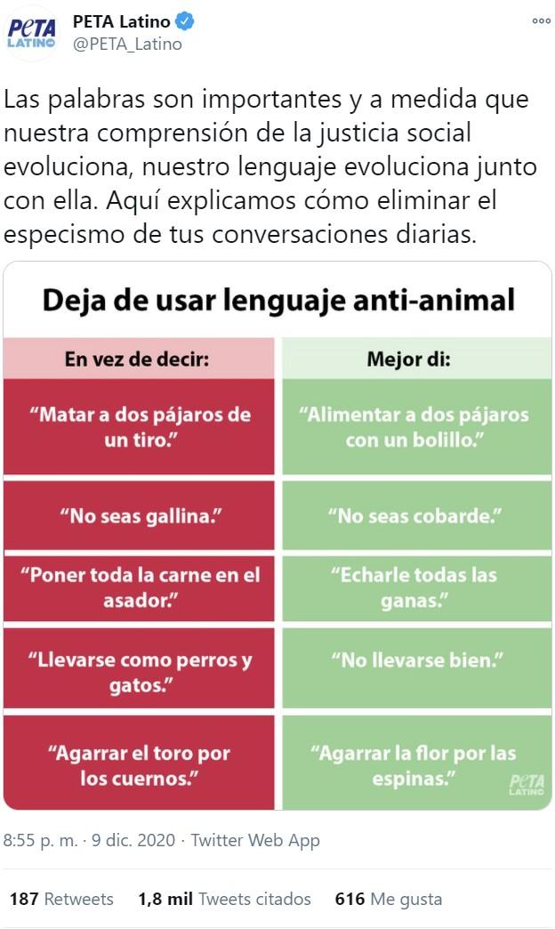 Deja de usar lenguaje anti-animal, ¡sucio especista!