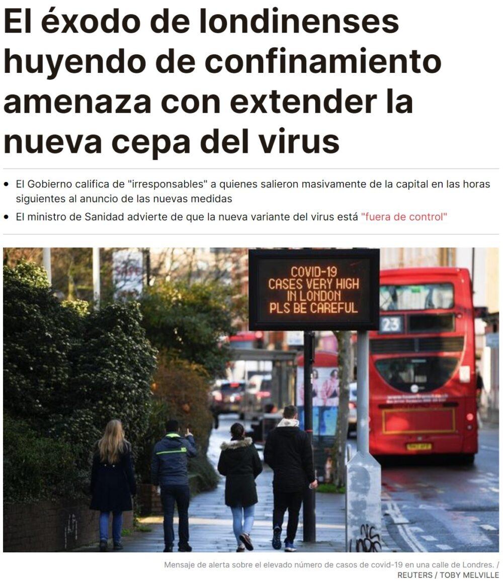 Éxodo de londinenses huyendo del nuevo confinamiento: extendiendo la nueva cepa por todo el mundo