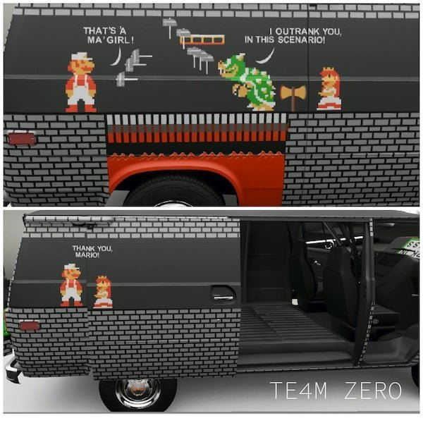 Creo que va directo al podium de mejores decoraciones para una furgoneta con puerta corredera