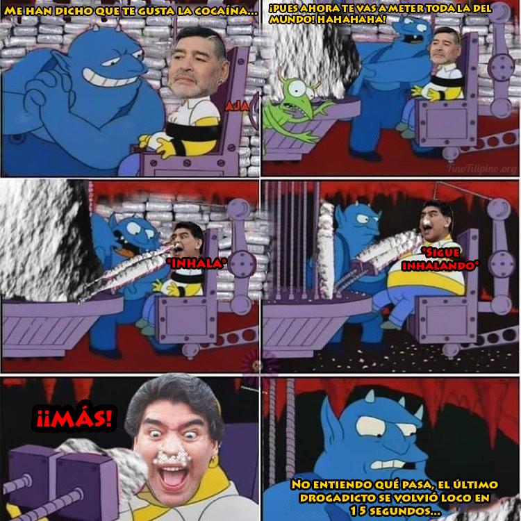 Maradona llegando al infierno