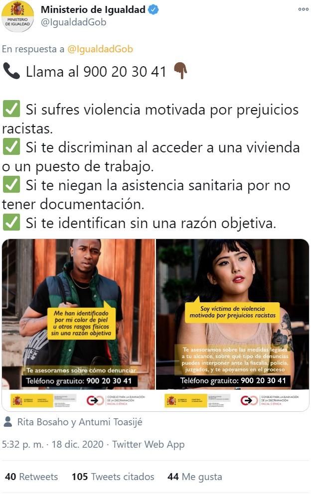 """El Ministerio de Igualdad reclutando """"testigos de la discriminación"""""""