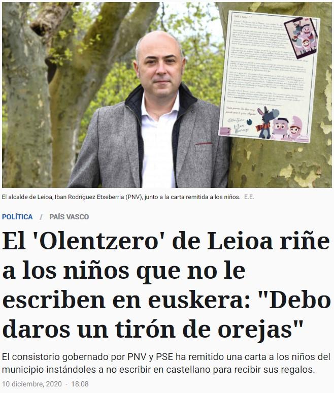 El Olentzero (Papá Noel vasco) riñe a los niños por no escribirle las cartas en euskera