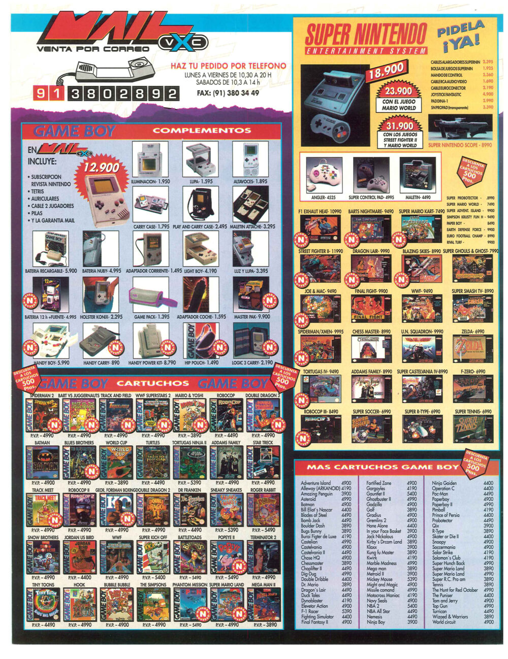 "Catálogo de ""Game"" (antigua Centro Mail) en 1992"