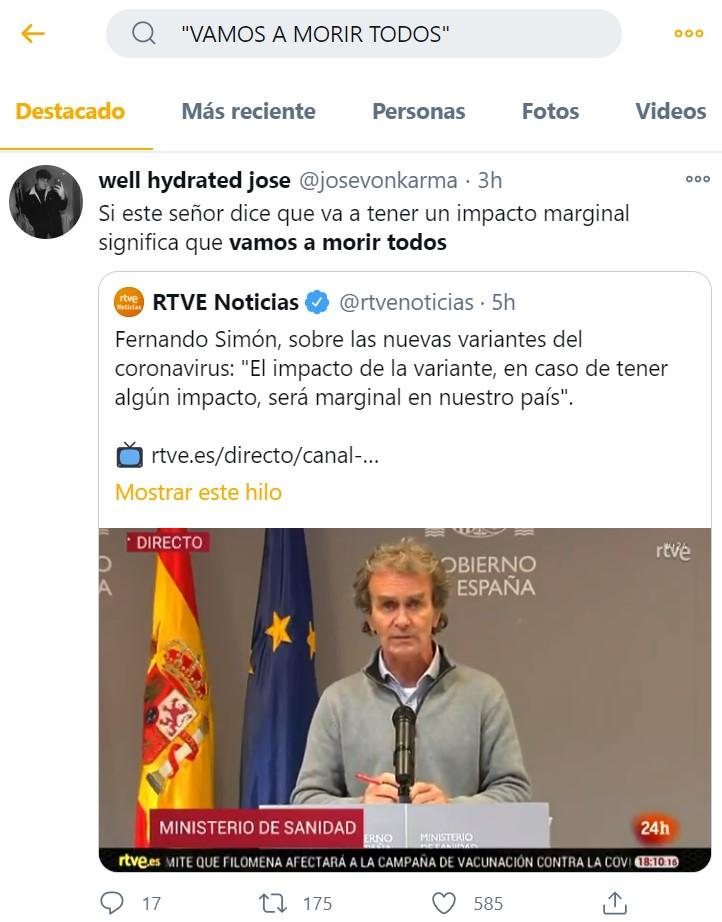 """Ojo que """"VAMOS A MORIR TODOS"""" es Trending Topic por las declaraciones de Fernando Simón quitándole peso a la cepa británica"""