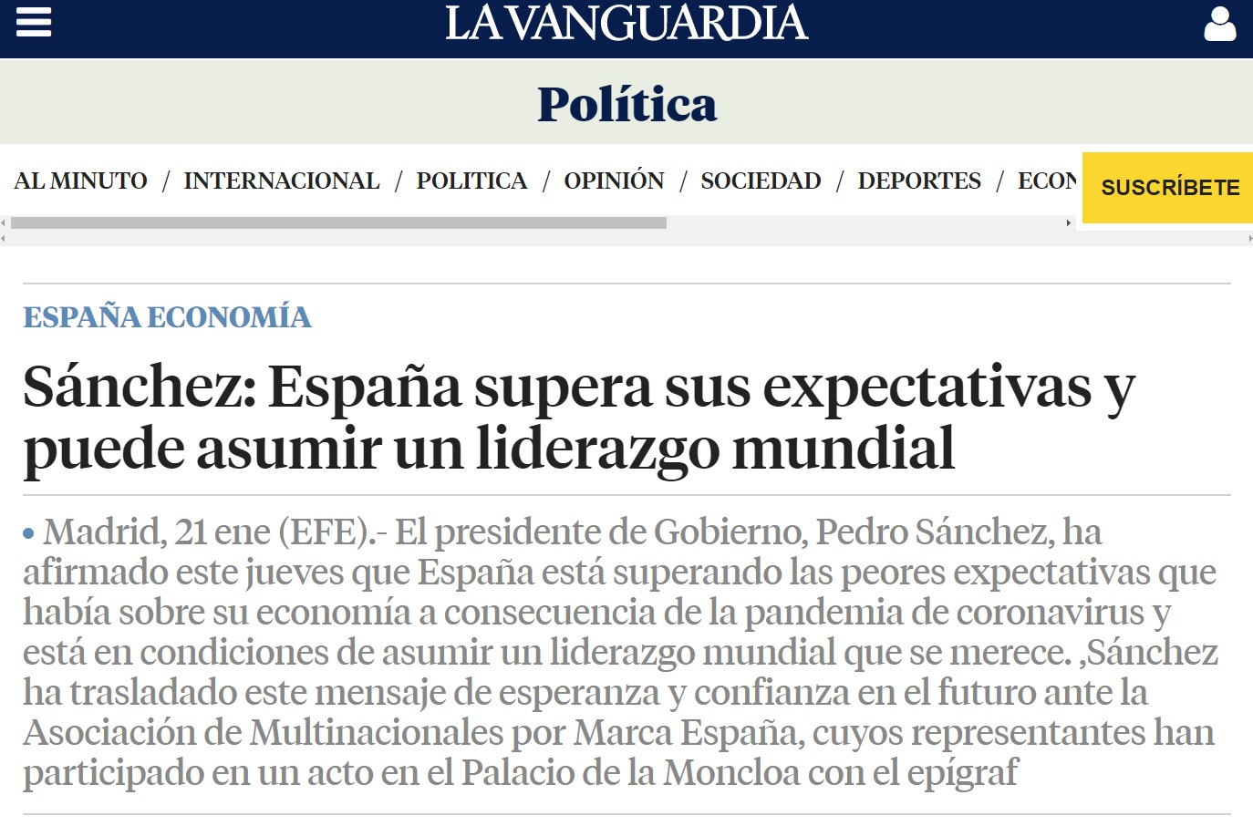"España preparada para ""asumir el liderazgo mundial"""
