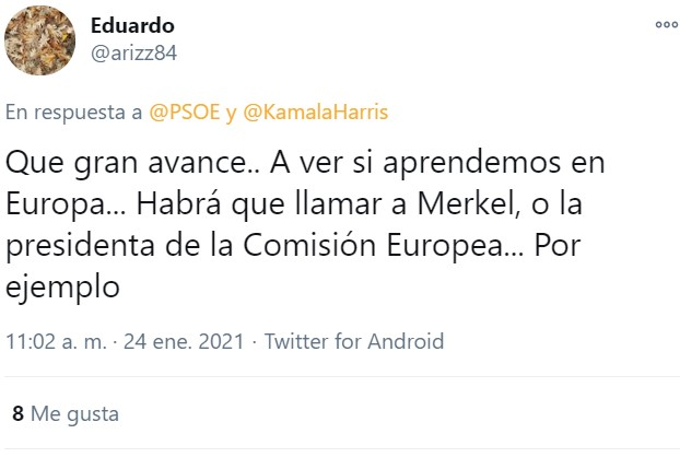 ¿Hay alguna diferencia entre el machismo y lo que hace el PSOE con Kamala Harris en pleno 2021?