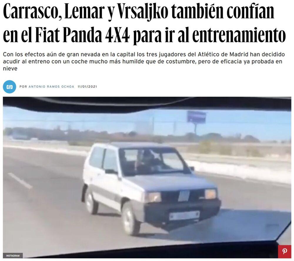 Jugadores del Atlético de Madrid van entrenar en un Seat Panda 4x4