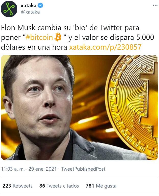 """2021 no está defraudando: Elon Musk pone """"Bitcoin"""" en su bio y el valor de la criptomoneda se dispara 5000 dólares en menos de una hora"""