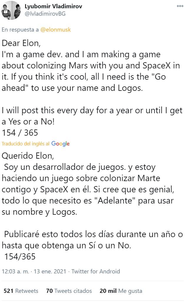 Maldito Elon... el chaval solo quiere un sí o un no...
