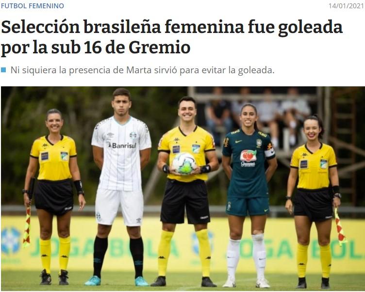 Las mejores jugadoras de fútbol de Brasil son goleadas por un equipo sub 16 masculino