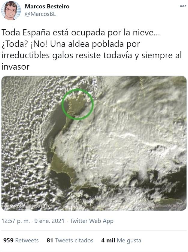 Mundo al revés: nieva en toda España menos en Galicia.