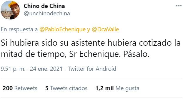 Echenique la deja botando y un chino de china remata de cabeza por toda la escuadra