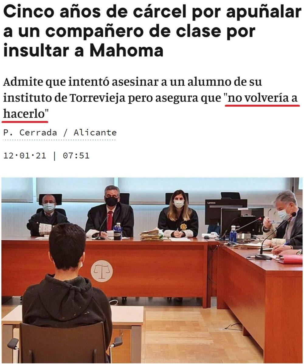 ¿Alguien recuerda la última vez que un chaval intentó matar a otro por insultar a Yisucraist en España?