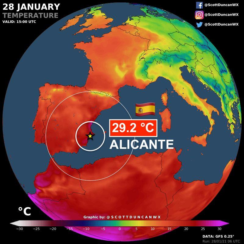 Alicante acaba de registrar 29,2º C