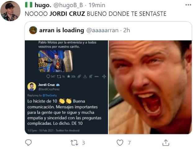 Está toda la borregada llorando en tuister porque Jordi Cruz, uno de sus referentes, ha elogiado a The Grefg (el andorrano)