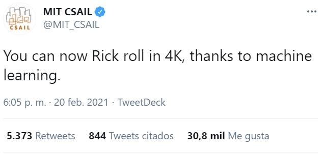 Ahora podemos disfrutar del RickRoll en 4K gracias al Machine Learning