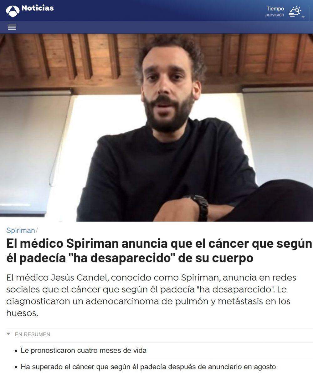 Spiriman ha superado milagrosamente su cáncer terminal fase 4 inoperable