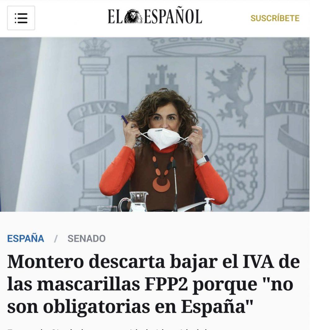 """El gobierno mantiene el 21% de IVA en las mascarillas FFP2 porque """"no son obligatorias en España""""."""