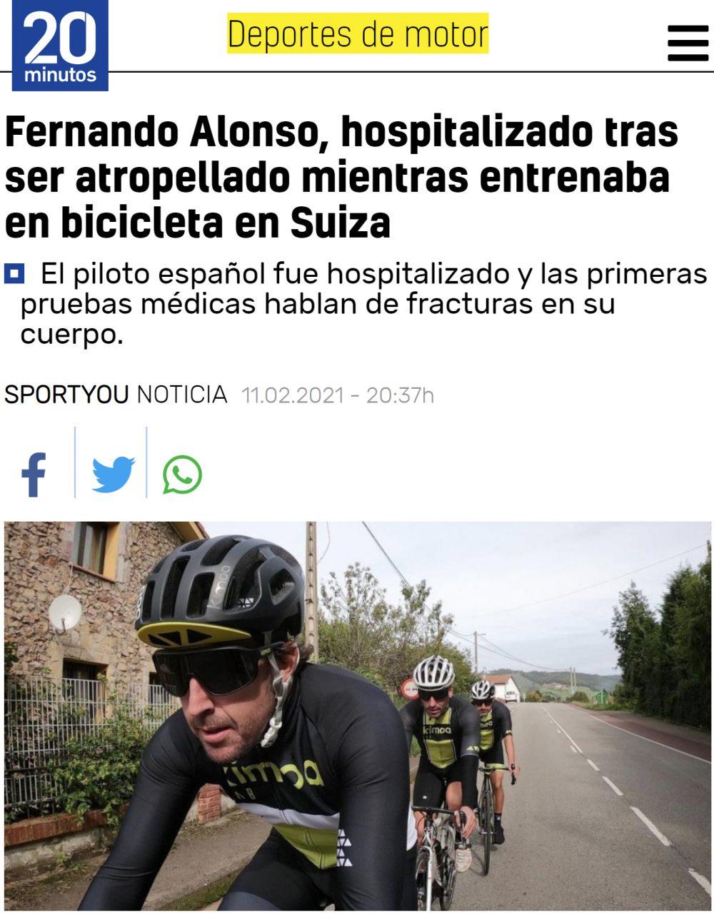Alonso hospitalizado con varias fracturas tras ser atropellado mientras iba en bici
