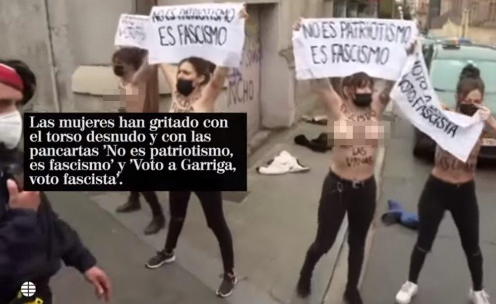 Cinco activistas de Femen protestan contra Vox en Cataluña