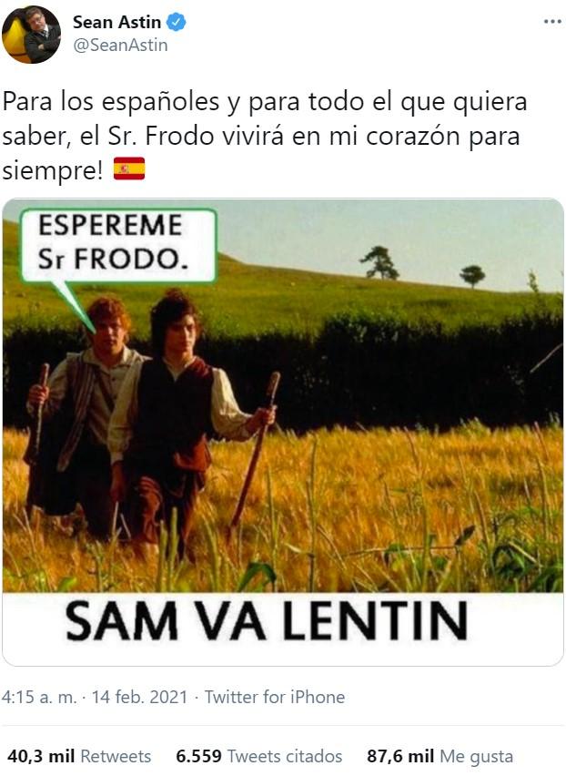 El meme es tan poderoso que ha llegado al mismísimo Sean Astin y se ha currado un tuit en español