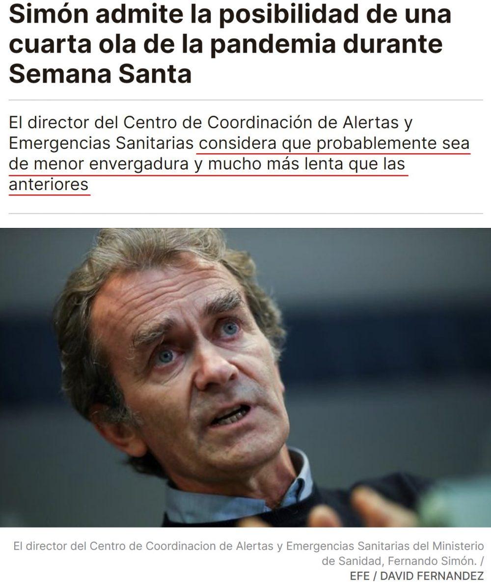 La opinión de Fernando Simón sobre una posible cuarta ola
