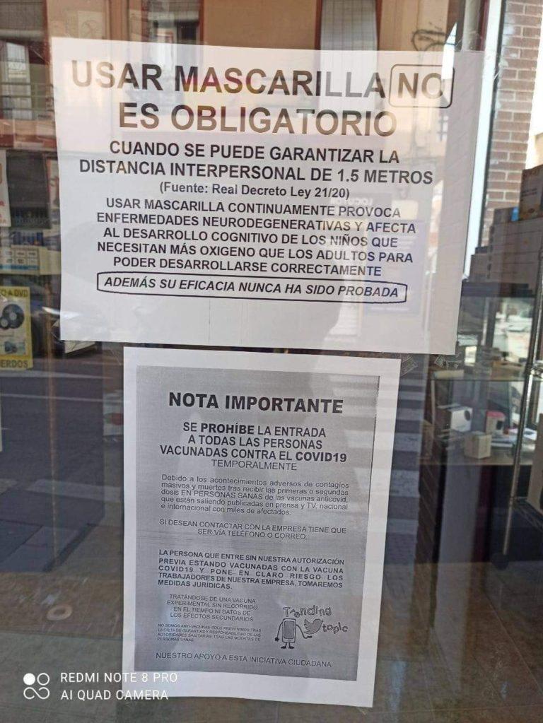 «Se prohíbe la entrada a todas las personas vacunadas contra el Covid-19»