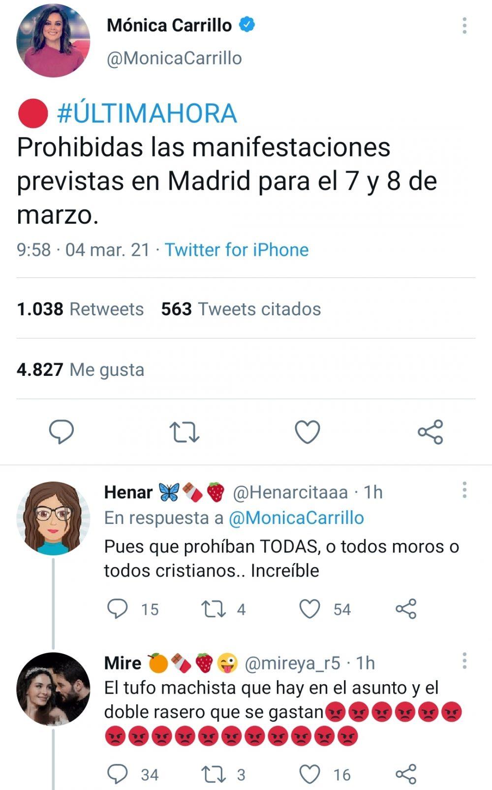 Se suspenden las manifestaciones por el 8m en Madrid.
