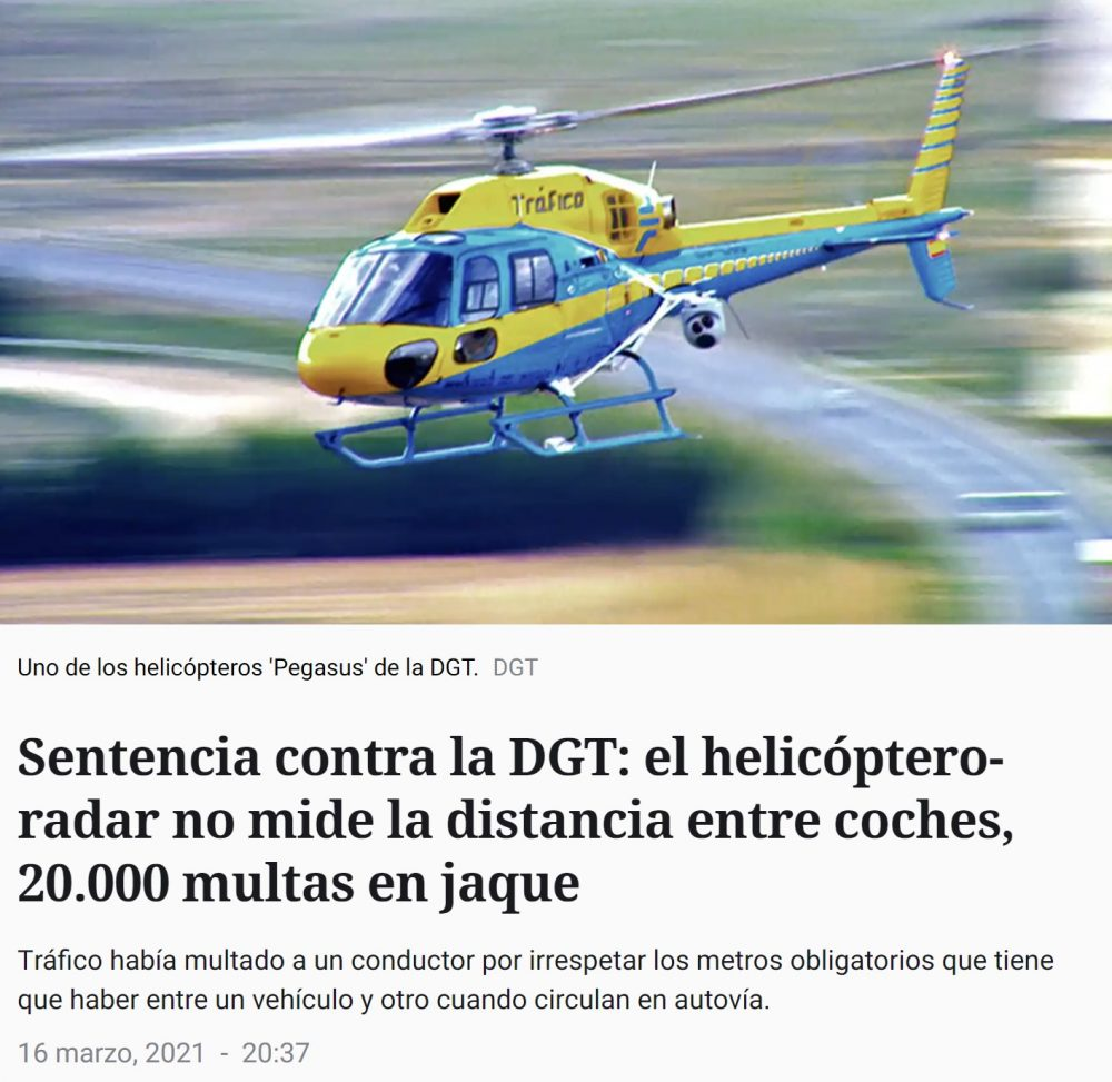 ¿Te ha multado el helicóptero-radar Pegasus? Pues... podrías librarte de la multa