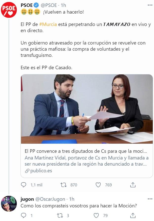 Failito de Dama: Fracasa la moción de censura en Murcia