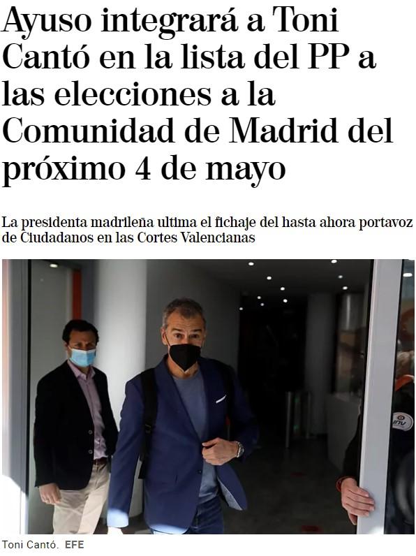 Toni Cantó al PP de Madrid.