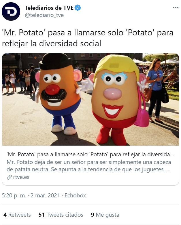 'Mr. Potato' pasa a llamarse solo 'Potato' para reflejar diversidad y evitar discriminación de género.