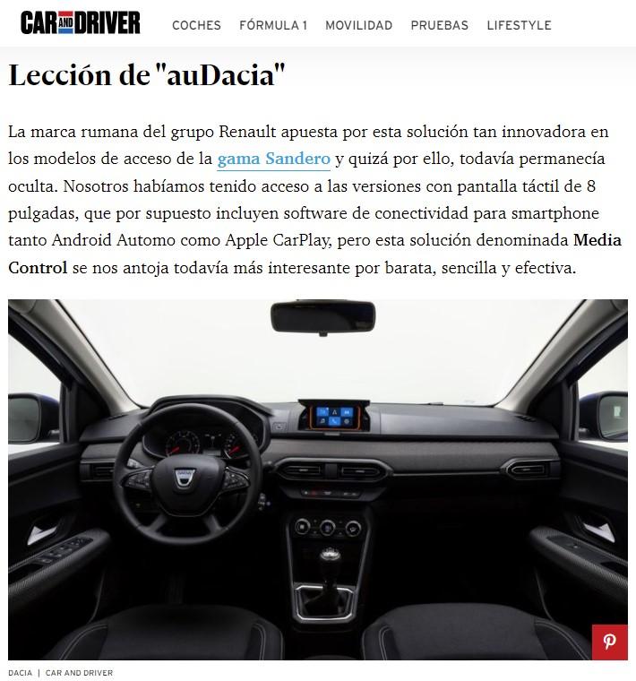"""Dacia crea """"Media control"""", un soporte para el móvil incorporado en el salpicadero"""