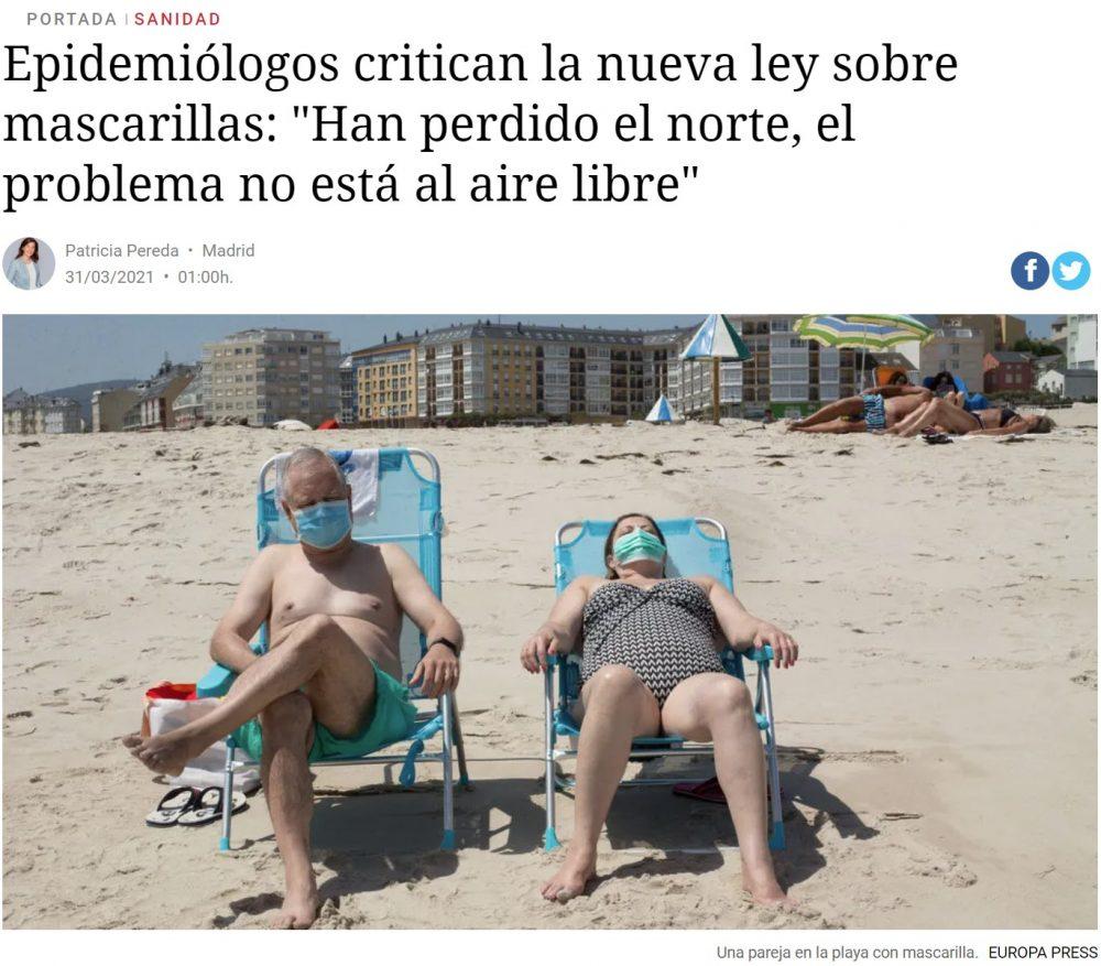 La nueva ley de medidas urgentes obliga a llevar mascarilla hasta en la playa, independientemente de la distancia interpersonal de seguridad