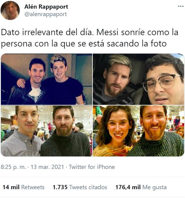 Messi sonríe igual que la persona con la que se está haciendo la foto