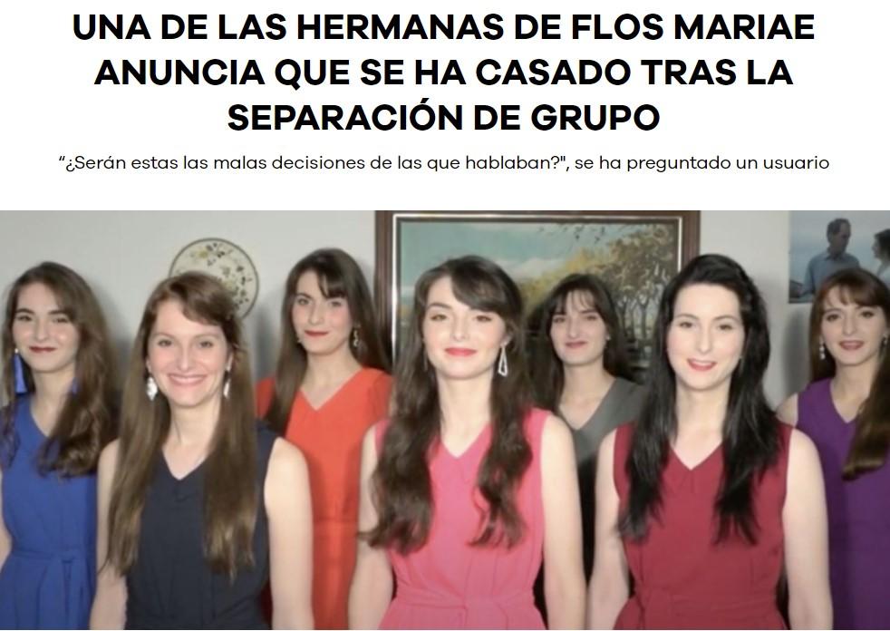 Flos Mariae sigue adelante sin las hermanas disidentes y anuncia que una de ellas se ha casado